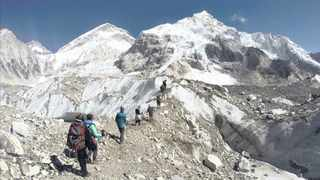 File photo: Trekkers near Mount Everest base camp. Picture: AP
