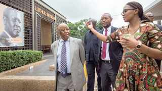 Former Botswana president Festus Mogae is led by curator Loyiso Gumede, right, and Chief Albert Luthuli's grandson Mthunzi Luthuli, centre, during his visit to the Luthuli Museum on Friday.Mogae laid a wreath at the grave of the Struggle icon and attended a church service. Mogae delivered the Chief Albert Luthuli Memorial Lecture themed 'Luthuli Remembered' held under the auspices of the museum, the Chief Albert Luthuli Foundation and the Department of Arts and Culture at the University of KwaZulu-Natal in Durban. This year marks 50 years since Chief Luthuli's death. PICTURE: RAJESH JANTILAL
