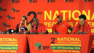 Former EFF treasurer-general Leigh-Ann Mathys, former secretary-general Godrich Gardee, party MPs Marshall Dlamini and former EFF Gauteng treasurer Omphile Maotwe, speaking during a press conference. Picture: Itumeleng English/African News Agency (ANA)