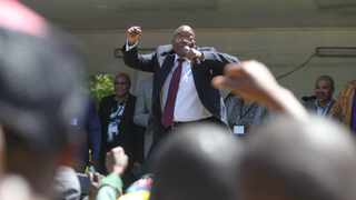 Former president Jacob Zuma dances outside court after addressing his supporters. Picture: Doctor Ngcobo/African News Agency(ANA)