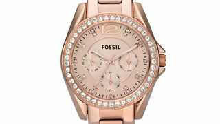 Fossil Women's Riley Rose Gold Round Stainless Steel Watch