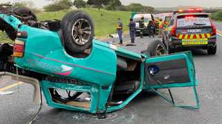 Four people were killed and nine were left critically injured after two bakkies crashed into each other on the N2 just past Zinkwazi on Monday morning. Picture: IPSS