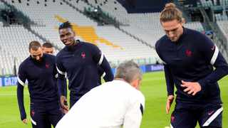 France´s Adrien Rabiot takes part in training alongside Paul Pogba and Karim Benzema. Photo: Massimo Pinca/Reuters