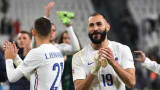 France's Karim Benzema celebrates after their Nations Cup match against Belgium. Photo: Massimo Pinca/Reuters