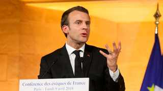 French President Emmanuel Macron delivers a speech. File picture: Ludovic Marin, Pool via AP