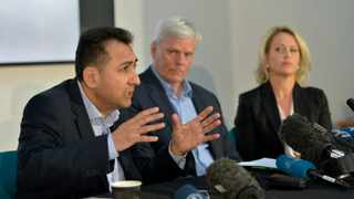 From left, Fidel Narvaez, former consul of Ecuador to London and Kristinn Hrafnsson, Editor-in-chief of WikiLeaks and barrister Jennifer Robinson take part in a press briefing for WikiLeaks founder Julian Assange at Doughty Street Chambers, in London, Wednesday, April 10, 2019. Assange hasn't left the Ecuadorian embassy since August 2012. Photo: Nick Ansell/PA via AP.