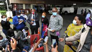 Gauteng Premier David Makhura visits Steve Biko Academic Hospital where a parking lot has been converted into a ward due to shortage of space in the hospital. Picture: Oupa Mokoena/African News Agency(ANA)
