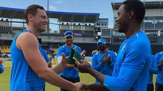 George Linde gets his Proteas ODI cap from Kagiso Rabada. Picture: Cricket South Africa/Twitter