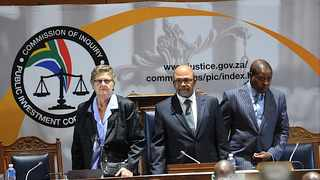 Gill Marcus (left) is an assistant commissioner at the Commission of Inquiry probing alleged impropriety at the Public Investment Corporation. The commission is headed by Judge Lex Mpati (centre) and the other assistant commissioner is Emmanuel Lediga. Photo: Karen Sandison/African News Agency (ANA)