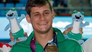 Gold medalist South Africa's Zane Waddell poses with his medal following the men's 50m backstroke final at the World Swimming Championships in Gwangju, South Korea. Picture: Lee Jin-man/AP