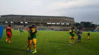 Golden Arrows players celebrate after winning their Telkom Knockout clash against Polokwane City. Photo: @OfficialPSL/Twitter