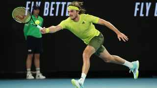 Greece's Stefanos Tsitsipas in action during his first round match against France's Gilles Simon at the Australian Open in Melbourne. Photo: Asanka Brendon Ratnayake/Reuters