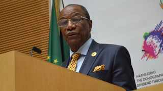 Guinean President Alpha Conde has made wearing masks compulsory in a bid to curb the spread of Coronavirus in that country. Picture: Twitter @_AfricanUnion