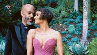Halle shared a series of snaps of the couple, her new pixie crop hairdo and her purple Dolce & Gabbana gown on Instagram. Picture: @halleberry/Instagram