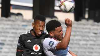 Happy Jele of Orlando Pirates and Waseem Isaacs of Stellebosch FC fight for the ball during their DStv Premiership match at Orlando Stadium in Soweto, Johannesburg on Saturday. Photo: Sydney Mahlangu/BackapagePix