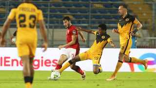 Happy Mashiane of Kaizer Chiefs was sent off for this foul on Akram Tawfik of Al Ahly during the 2021 CAF Champions League final. Picture: BackpagePix