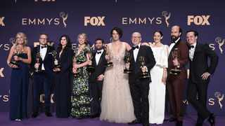 Harry Bradbeer, fourth from right, winner of the award for outstanding directing for a comedy series, and the cast and crew of 'Fleabag'winners of the award for outstanding comedy series. Picture: Jordan Strauss/Invision/AP