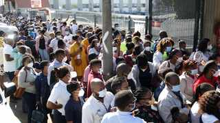 Healthcare workers lined up outside St Augustine's Hospital in Durban to be vaccinated. Picture: Bongani Mbatha/African News Agency(ANA)