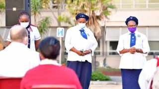Healthcare workers receive a prayer from various Bishops on Good Friday in a service held by the Diakonia Council of Churches outside Addington Hospital in Durban. Photo: Supplied