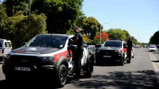 Heavy police and private security presence outside Brackenfell High School yesterday. Picture: Ayanda Ndamane / African News Agency (ANA)