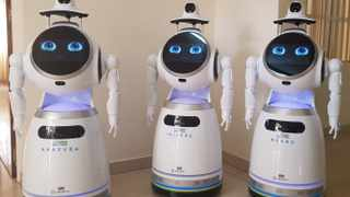High-tech robots developed by Zora Bots, a Belgium-based company, and donated by the UNDP at the Kanyinya treatment centre. Picture: Reuters/Clement Uwiringiyimana