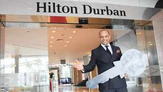 Hilton Durban's general manager Vikram Jamwal celebrates the official opening of the hotel yesterday after being closed for almost six months. Picture: Doctor Ngcobo African News Agency (ANA)