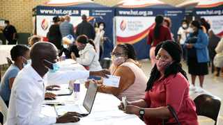 Hundreds of educators gathered at KwaMashu Sports Centre on Wednesday morning to receive the Covid-19 vaccine. Picture: Motshwari Mofokeng/African News Agency (ANA)