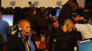 IEC staff work the count results at the IEC Election Results Centre in Pretoria. 080514. Picture: Chris Collingridge 107