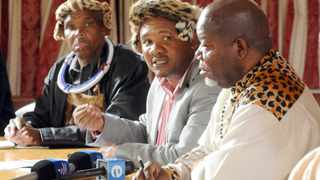 Ikosi Sipho Mahlangu (middle) representing King Mabhoko of the Ndebele tribe surrounded on the left by Ikosi Willem Mahlangu and on the right Kgosi Mathibela Mokoena, chairman of the Mpumalanga House of Tradition Leaders addresses the media on the issue of boys from the Nkangangala area who died while at the initiation school. 240513 Picture: Boxer Ngwenya