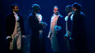 """In this image released by Disney Plus, from left, Daveed Diggs, Okieriete Onaodowan, Lin-Manuel Miranda, Leslie Odom Jr. and Anthony Ramos appear in a filmed version of the original Broadway production of """"Hamilton."""" Picture: Disney Plus via AP"""