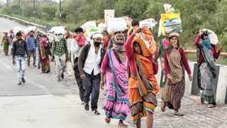 India's migrant workers faced a long walk home amid the coronavirus lockdown. Picture: Reuters