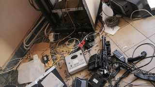 Inside the Mams radio station which was vandalised and looted. Picture: Supplied