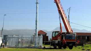 Installation of a network tower at Steenberg Station. Residents have protested about this in the past, however, the tower is in the process of being erected - photographer - Tracey Adams/African News