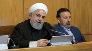 Iranian President Hassan Rouhani speaks during a cabinet meeting, as President's chief of staff Mahmoud Vaezi sits at right, in Tehran, Iran. Picture: Iranian Presidency Office via AP