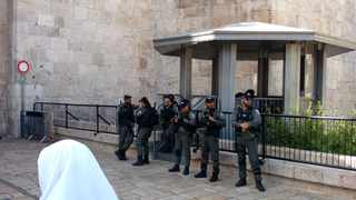 Israeli soldiers at the entrance to the old city of Jerusalem. PHOTO: Mel Frykberg / ANA