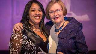 Jacqueline Samson with former Premier Helen Zille at the 2015 annual Provincial Service Excellence Awards. Picture: Supplied