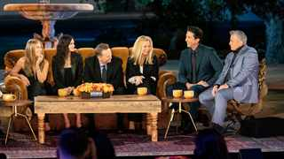 Jennifer Aniston, Courteney Cox, Matthew Perry, Lisa Kudrow, David Schwimmer and Matt LeBlanc during the highly hyped 'Friends: The Reunion' special. Picture: Terence Patrick/HBO Max