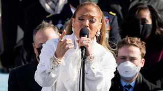 Jennifer Lopez sings during the 59th Presidential Inauguration at the U.S. Capitol in Washington January 20, 2021. Picture: Patrick Semansky/Pool via Reuters