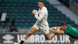Jet-heeled winger Jonny May moved joint second on the all-time England tryscorers' list on Saturday, bagging two, including one sensational 90-metre effort, as England beat Ireland 18-7 in the Nations Cup at Twickenham. Photo: Matthew Childs/Reuters