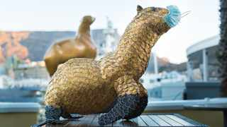 Joanne Selby, the The Table Bay hotel's general manager, commissioned sculpture artist Godfrey Dambuleni to create the mascot from used Nespresso capsules. Picture: Supplied