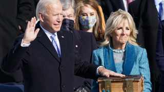 Joe Biden is sworn in as the 46th President of the United States as his wife Jill Biden holds a bible on the West Front of the U.S. Capitol in Washington. Picture: Kevin Lamarque/Reuters