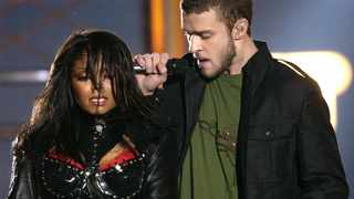 Justin Timberlake and Janet Jackson are seen during their performance prior to a wardrobe malfunction during the half-time performance at Super Bowl XXXVIII in Houston. Picture: AP