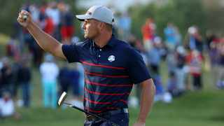 KOHLER, WISCONSIN - SEPTEMBER 24: Bryson DeChambeau of team United States celebrates on the 15th green during Friday Afternoon Fourball Matches of the 43rd Ryder Cup at Whistling Straits on September 24, 2021 in Kohler, Wisconsin. Andrew Redington/Getty Images/AFP (Photo by Andrew Redington / GETTY IMAGES NORTH AMERICA / Getty Images via AFP)