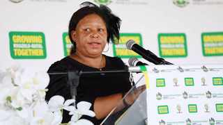 KZN MEC for Transport, Community Safety and Liaison Nelisiwe Peggy Nkonyeni speaking during the mass funeral of the people who died in a car crash in KwaNongoma. Picture: Supplied.
