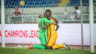 Kaizer Chiefs goalkeeper Bruce Bvuma is embraced by his teammates following his magnificent performance against Wydad Casablanca. Picture: Kaizer Chiefs