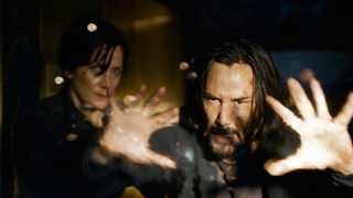 Keanu Reeves and Carrie-Anne Moss in 'The Matrix Resurrections'. Picture: Warner Bros.