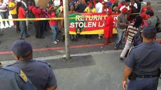 Khayelitsha residents sang protest songs outside the court building where Denel's application for the eviction of the Khayelitsha land invaders was heard.