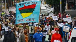 Khoi and San tribe members joined a Bo-Kaap Walk of Resistance down Wale and Adderley Street against the Amazon development planned in Observatory. Picture:: Armand Hough/African News Agency(ANA)