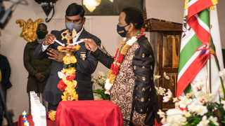 King Goodwill Zwelithini shared a bond with Ishwar Ramlutchman and considered him as his son. This photo was taken at the Diwali celebrations held at the palace in Nongoma, last year. Picture: Motshwari Mofokeng /African News Agency (ANA).