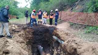 KwaZulu-Natal MEC for Economic Development, Tourism and Environmental Affairs (Edtea) Nomusa Dube-Ncube at the site of the oil spill, where a team of contractors work to repair the damage. Photo: EDTEA